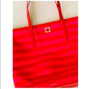 Kate Spade pink and red striped purse (bag)